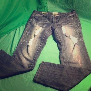 Hot Kiss Skinny Lily Jeans with Rhinestones Sz 13J
